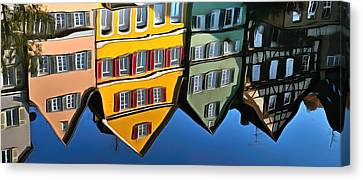 Reflection Of Colorful Houses In Tuebingen In River Neckar Canvas Print