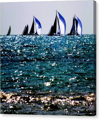 Reflection Of Sails Canvas Print by Karen Wiles