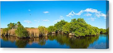 Reflection Of Trees In A Lake, Big Canvas Print by Panoramic Images