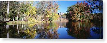 Reflection Of Trees In A Lake, Biltmore Canvas Print by Panoramic Images