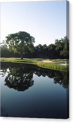 Reflection Of Trees In A Lake, Kiawah Canvas Print by Panoramic Images