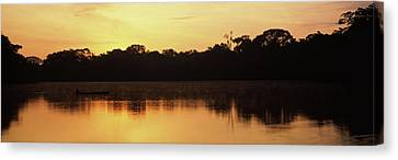 Reflection Of Trees In Napo River Canvas Print by Panoramic Images