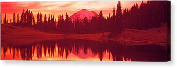 Reflection Of Trees In Water, Tipsoo Canvas Print by Panoramic Images