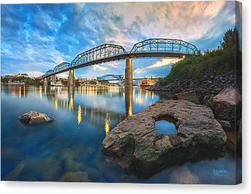 Reflection Rock At Low Water Canvas Print by Steven Llorca