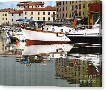 Canvas Print featuring the photograph Reflections Along The Canal by Sue Melvin