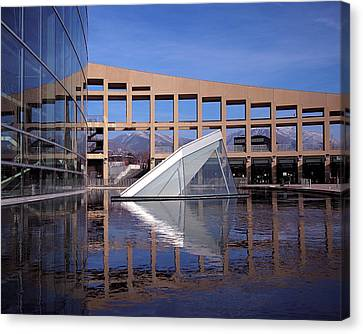 Glass Wall Canvas Print - Reflections At The Library by Rona Black