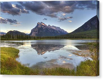 Reflections At Vermillion Lakes  Canvas Print by Darlene Bushue