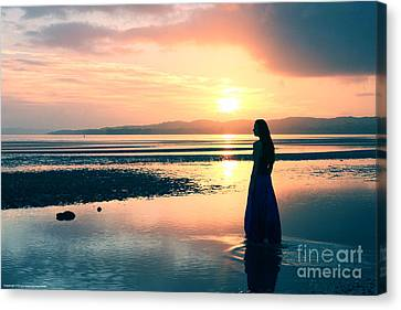 Reflections By The Sea Canvas Print by Gee Lyon