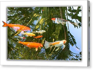 Canvas Print featuring the photograph Reflections In A Koi Pond by Mariarosa Rockefeller