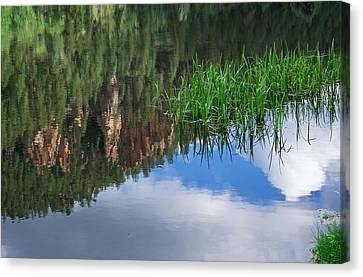 Reflections In A Mountain Pond Canvas Print by Mary Lee Dereske