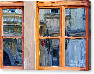 Prague Digital Art Canvas Print - Reflections In A Window Prague by Ted Guhl