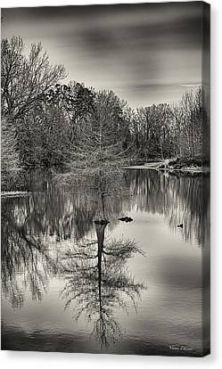 Canvas Print featuring the photograph Reflections In Black And White by Yvonne Emerson AKA RavenSoul