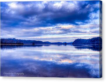 Reflections In Blue Canvas Print by Paul Herrmann