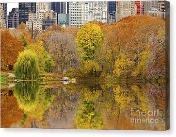 Reflections In Central Park New York City Canvas Print by Sabine Jacobs