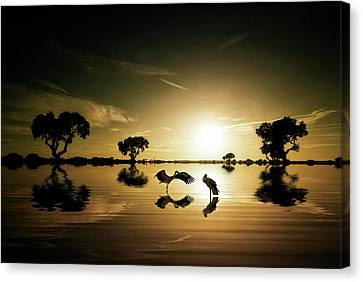 Crane Canvas Print - Reflections In The Lake by Jose C. Lobato
