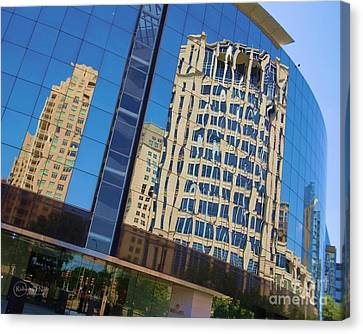 Canvas Print featuring the photograph Reflections In The Rolex Bldg. by Robert ONeil