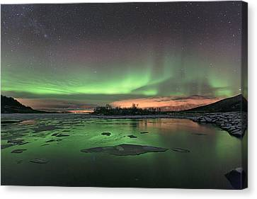 Reflections In The Sea Canvas Print by Frank Olsen