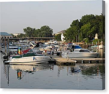Reflections In The Small Boat Harbor Canvas Print by Kay Novy