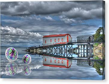 Reflections Lifeboat Houses And Smoke Cones Canvas Print by Steve Purnell