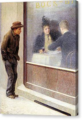 Reflections Of A Hungry Man Or Social Contrasts Canvas Print by Emilio Longoni
