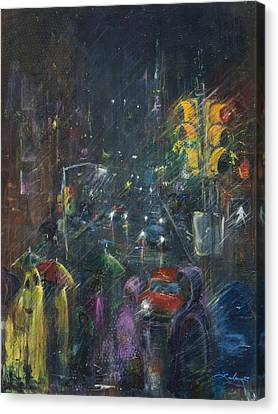 Reflections Of A Rainy Night Canvas Print by Leela Payne