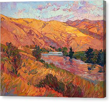 Canvas Print featuring the painting Reflections Of August by Erin Hanson