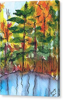 Reflections Of Fall Canvas Print by Shelley Bain