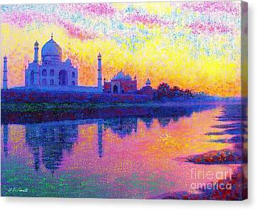 Yellow Building Canvas Print - Taj Mahal, Reflections Of India by Jane Small