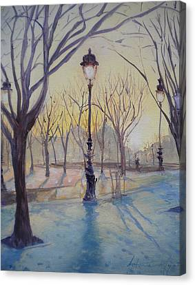 Reflections Of Lamp Post Dome Church, 2010 Oil On Canvas Canvas Print by Antonia Myatt