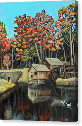 Grist Canvas Print - Reflections Of Mabry Mill by Eve  Wheeler