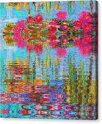Canvas Print featuring the painting Reflections Of Monet by Holly Martinson