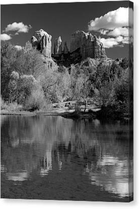 Reflections Of Sedona Black And White Canvas Print by Joshua House
