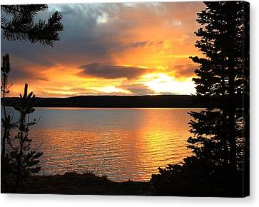 Canvas Print featuring the photograph Reflections Of Sunset by Athena Mckinzie