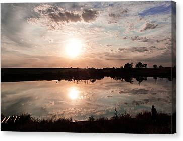 Canvas Print featuring the photograph Reflections Of Sunset by Dawn Romine