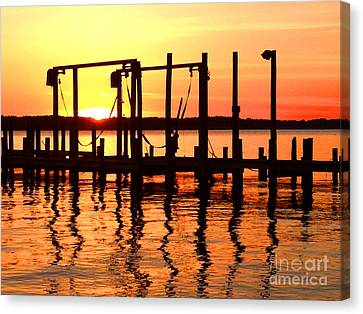 Reflections Of The Day Canvas Print by Linda Mesibov