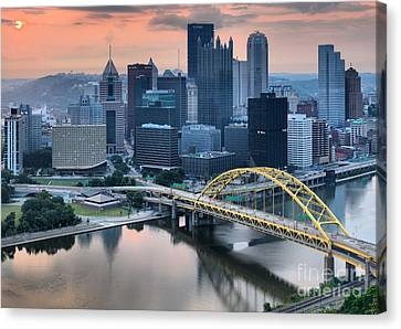 Reflections Of The Pittsburgh Skyine Canvas Print by Adam Jewell