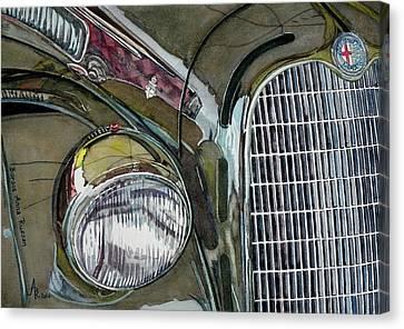 Reflections On 1931 Alfa Romeo Milano Canvas Print by Anna Ruzsan