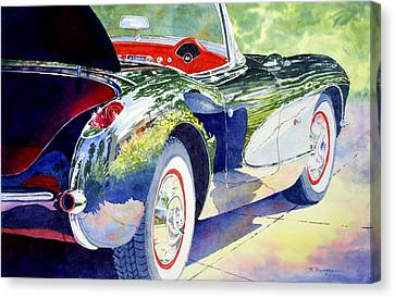 Reflections On A Corvette Canvas Print by Roger Rockefeller