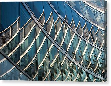 Reflections On Building Windows Canvas Print