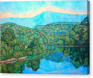 Reflections On The James River Canvas Print by Kendall Kessler