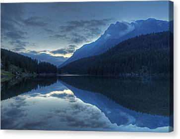 Reflections On Two Jack Lake Canvas Print by Darlene Bushue