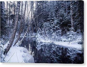 Reflections On Wintry River Canvas Print