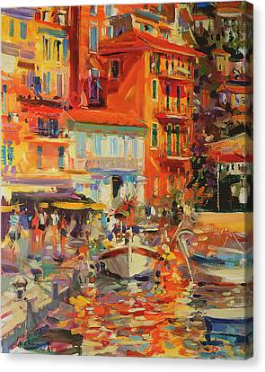 Reflections - Villefranche Canvas Print by Peter Graham