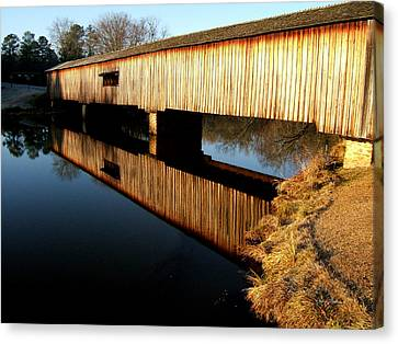 Canvas Print featuring the photograph Reflections  Watson Mill Bridge by George Bostian