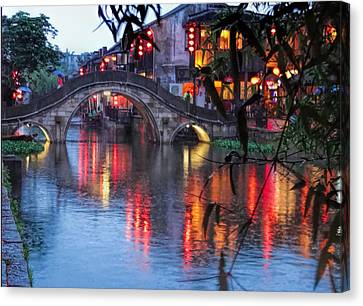 Reflections Xitang Evening Canvas Print by Robert Knight