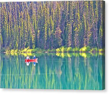 Reflective Fishing On Emerald Lake In Yoho National Park-british Columbia-canada  Canvas Print by Ruth Hager