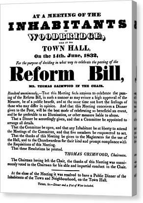 Reform Canvas Print - Reform Bill Poster, 1832 by Granger