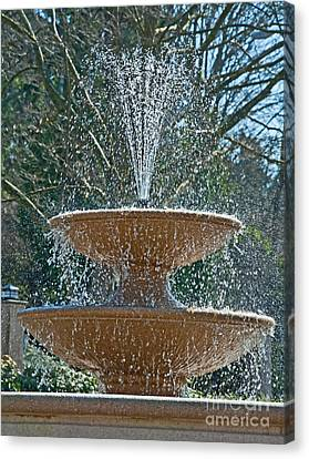 Refreshing Fountain Of Water In Sunshine Canvas Print by Valerie Garner