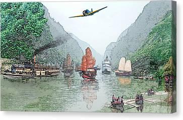 Refugees On The Yangtze Canvas Print
