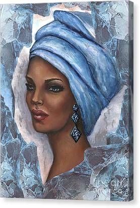 Canvas Print featuring the mixed media Regal Lady In Blue by Alga Washington